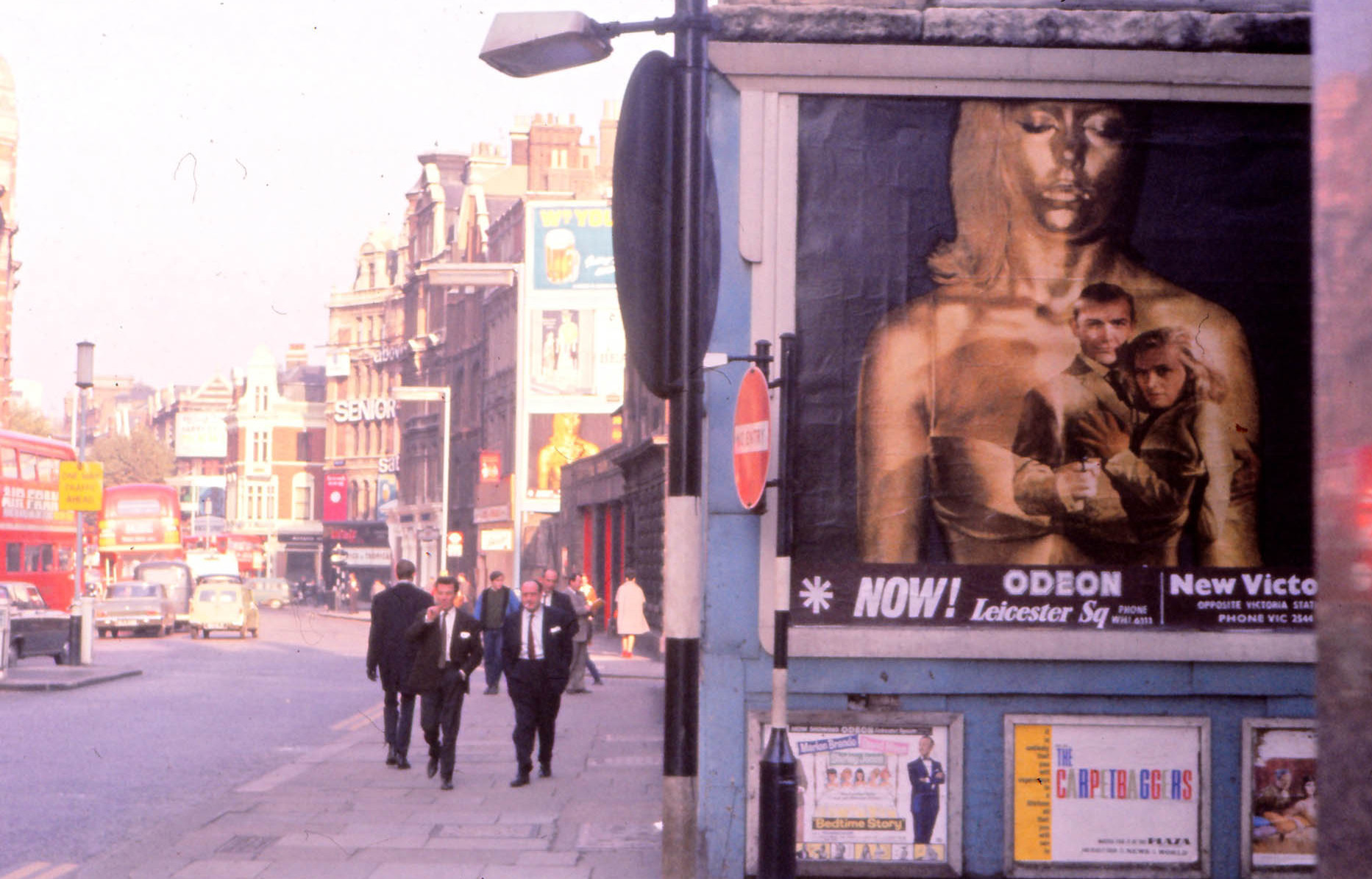 Goldfinger Poster on London Street London 1964