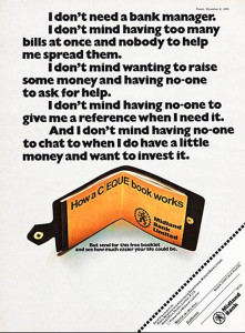 Advertising for Midland Bank on how a cheque book works in Punch magazine circa 1968