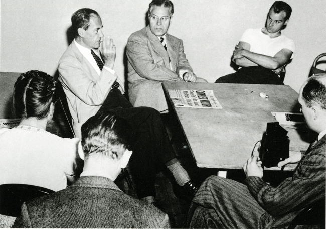 Moholy-Nagy, Walter Gropius and students (BJ back turned) - Chicago 1945