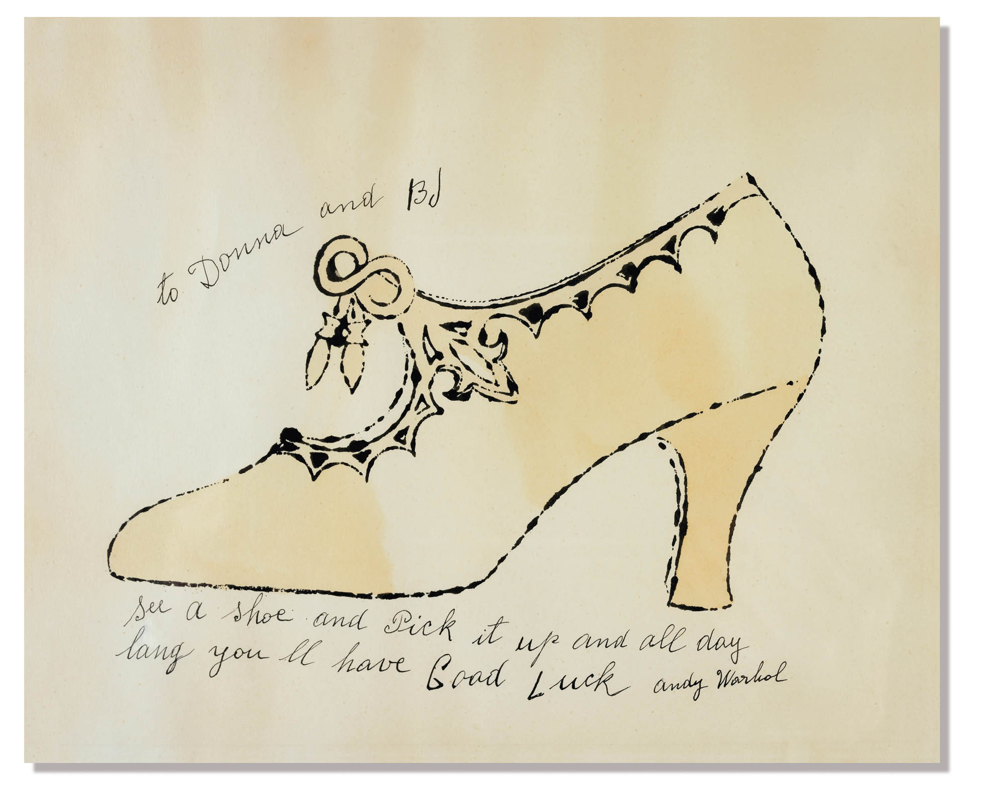 Andy Warhol Shoe Drawing for Donna and BJ New York 1956