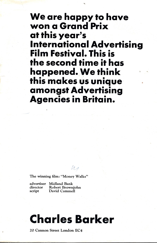 Charles Barker CHB Poster London 1965