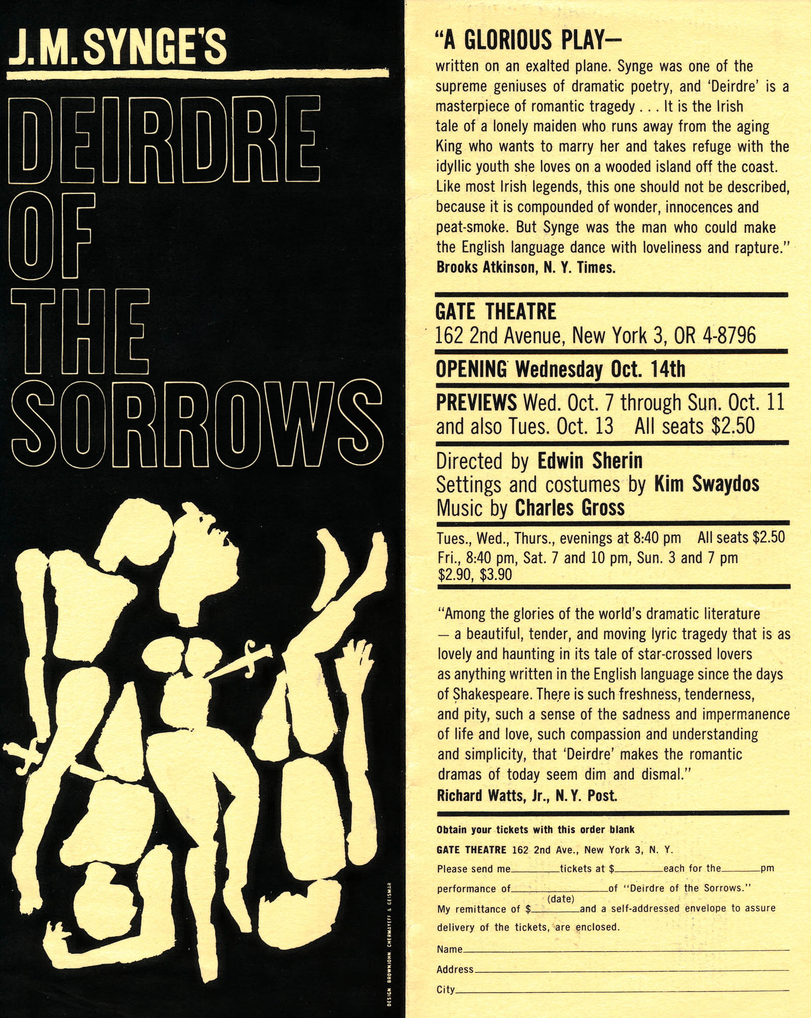 Deidre of the Sorrows Play - Flyer New York 1950's