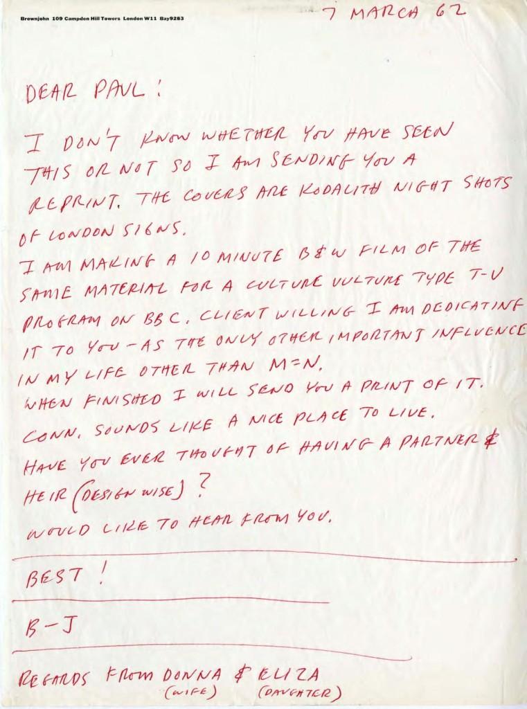 BJ letter to Paul Rand London 1962