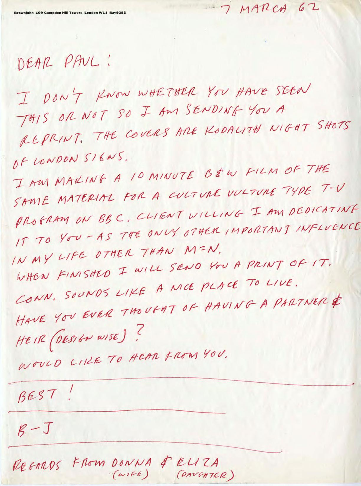 BJ letter to Paul Rand